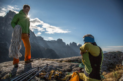 Eric Girardini - Mountain Guide - and Manolo at the top of Pinne gialle (Tognazza, Passo Rolle, Dolomites)