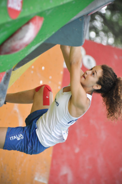 Giorgia Tesio competing at the European Youth Bouldering Championships 2014 at Arco