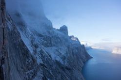 Climbing at Gibbs Fjord, Nicolas Favresse, Olivier Favresse, Ben Ditto and Sean Villanueva.
