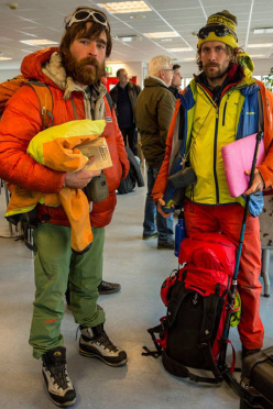 Nicolas Favresse and Sean Villanueva, departing for the climbing at at Gibbs Fjord on Baffin Island, Greenland