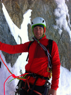 Corrado Pesce during the repeat of Directe de l'Amitié, Grandes Jorasses, Mont Blanc, carried out on 26-27/09/2014 together with Martin Elias.