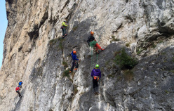 Dolomites climbing: self-rescue exam