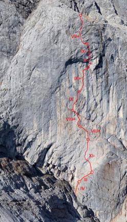 Wetterbock, (8c, 10 tiri, prima salita Alexander Huber, prima libera Alexander Huber, Michi Althammer 18/09/2014 ), Göll parete est, Alpi di Berchtesgaden, Austria.