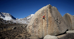 Kevin Jorgeson making the first ascent of the super highball Ambrosia at Bishop, California, USA