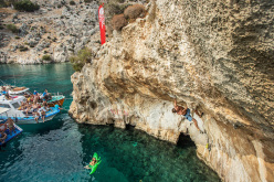 Deep Water Solo at Vathi during the The North Face Kalymnos Climbing Festival 2014