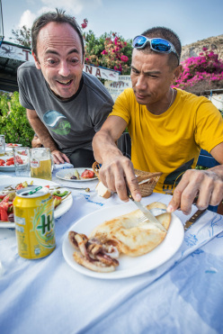 It's mine! No, it's minse! Jean-Baptiste Tribout and Yuji Hirayama at the The North Face Kalymnos Climbing Festival 2014