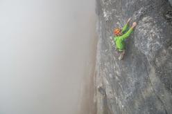 Nicola Sartori climbing pitch 2, 7a+