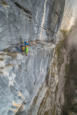 Nicola Sartori and Rolando Larcher at the belay on pitch 3