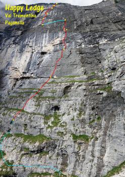 The route line of Happy Ledge, Val Trementina, Paganella first climbed by Rolando Larcher and Nicola Sartori