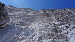 Rolando Larcher climbing pitch 5