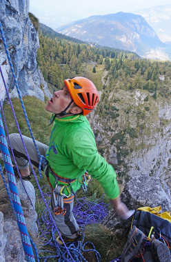The determination of an ex-competition climber Nicola Sartori at the end of pitch 8