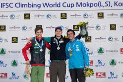 Men's podium at Mokpo, South Korea: Domen Škofic, Jakob Schubert and Romain Desgranges