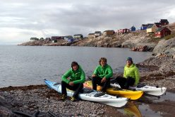 The team on their return: Matteo Della Bordella, Christian Ledergerber and Silvan Schüpbach and their kayaks.