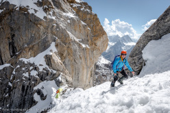 Dres Abegglen just above the bivy during the first ascent of Challo, Kishtwar Shivling East summit, climbed together with Stephan Siegrist and Thomas Senf
