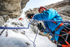 Stephan Siegrist, belayed by Drs Abegglen during the first ascent of