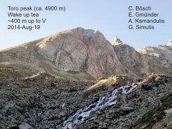 Toro peak and the line climbed by Cyrill Bösch, Elias Gmünder, Arunas Kamandulis and Gediminas Simutis