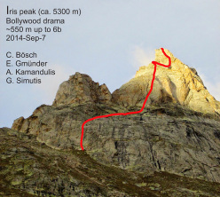 Iris peak and the route climbed by Cyrill Bösch, Elias Gmünder, Arunas Kamandulis and Gediminas Simutis