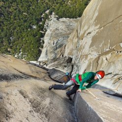 Jorg Verhoeven on the famous Changing Corners pitch during his attempts to free climb The Nose, El Capitan, Yosemite