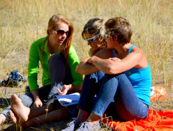 Libby Sauter, Mayan Smith-Gobat and Chantel Astorga hanging out in the El Capitan Meadow