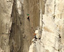 Jorg Verhoeven durante i suoi tentativi di salire in libera The Nose, El Capitan, Yosemite