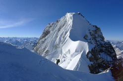 On the summit ridge of Hagshu, climbed by Mick Fowler and Paul Ramsdenvia the NE Face of (6,515m), Kishtwar, Himalaya