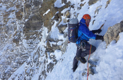 Mick Fowler and Paul Ramsden making the first ascent of the NE Face of Hagshu (6,515m), Kishtwar, Himalaya
