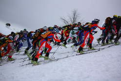 The start of the 24th Valtellina Orobie 2009, won by Laetitia Roux from France and Florent Troillet from Switzerland.