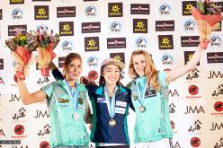 Podio femminile a Inzai: Mina Markovic, Jain Kim e Maja Vidmar