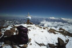 La vetta dell'Aconcagua, la cima più alta del Sud America.