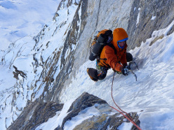 Ales Cesen climbing the north face of Hagshu