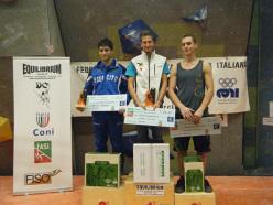 Il podio maschile del Campionato Italiano Boulder 2014: Marcello Bombardi, Stefan Scarperi e Riccardo Piazza