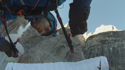Jacopo Pellizzari and Luca Tamburini and the first Speedfly descent of Canalone Neri, Brenta Dolomites