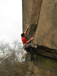 Alex Honnold during his ascent of Gaia E8 6c, Black Rocks, England