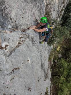 Danny Zampiccoli climbing Via del trenino, Passo San Giovanni, Nago Torbole Arco, first climbed in autumn 1986 by Giampaolo Calzà Trota, Rino Zanotti and Andrea Zucchelli.