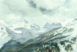 Val di Fassa, Dolomiti. Acquerello 18 x 26