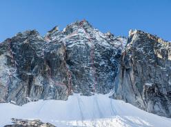 Monte Nero and the route lines. From left to right: Clean Climb (480m AI4/M4+, D. Lorenzi, G. Ghezzi 2014), New route (Prati and co.?), Wind of Change (450m M6, P. Ghezzi, G. Venturelli 2010 or 2011), Rolling Stones (to the ridge AI4+/M6. P. Ghezzi, Prati 2010 or 2011 after previous attempts in the '90's by C. Carè & Co, to the summit 550m AI4+/M6, C. Migliorini, A. Reboldi 2013), Diretta Solitudine (540m M6+ J. Pellizzari, F. Salvaterra 2014after preceding attempts, Couloir dell'H (450m AI3 M3+ I. Bazzani, F. De Stefani, C. Santus 1980)