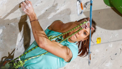 Mina Markovic climbing to win the last stage of the Lead World Cup 2014 at Kranj, Slovenia
