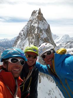 Vittorio Messini, Simon Gietl e Daniel Tavernini in cima al Tirol Shan