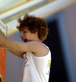 Gabriele Moroni, aged 16, competing in the European Bouldering Championship at Lecco in 2004 where he won bronze.