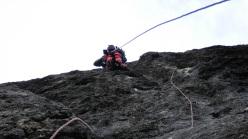 Generazioni a Confronto: Diego Pezzoli climbing the second pitch