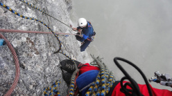 Generazioni a Confronto: Angelo Fantini climbing the second pitch