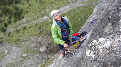 Generazioni a Confronto: Angelo Fantini at the belay on pitch 2