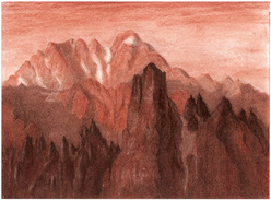 Torre Siorpaes - Sanguigna, su Canson Mi Teintes gr.160 cm 40,6x30,5 - autore: Riccarda de Eccher