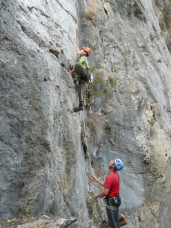 Climbing at the new sector Music Land, Oliena