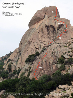 The route line of Malala Day, first climbed by Maurizio Oviglia and Fabio Erriu at Locherie (Onifai) and dedicated to Malala Yousafzai, 2014 Nobel prize winner.
