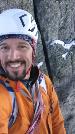 Cristian Candiotto during the first ascent of Anitaice (M5, 140m), Cima Denti della Vecchia in Val Gerola, Italy