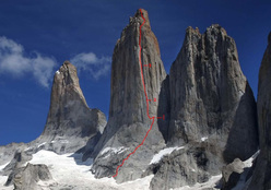 Free South Africa, East Face of Central Tower, Torres del Paine, Chile.  Nicolas Favresse, Sean Villanueva and Ben Ditto have now carried out the first free ascent of this 1974 route.
