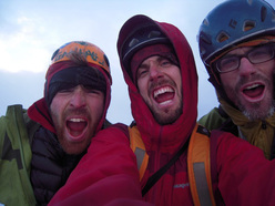 Sean Villanueva, Nicolas Favresse and Ben Ditto on the summit of the Central Tower, Torres del Paine