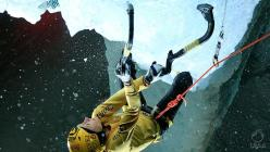 Maria Tolokonina, winner of the Ice climbing World Cup 2014, in action atChampagny in France