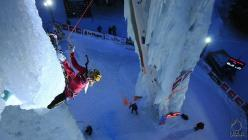 Petra Klingler competing at Champany, France, during the Ice Climbing World Cup 2014